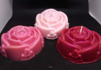 Set of 3 scented rose flower candles.