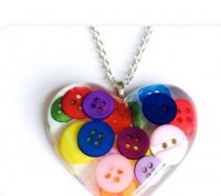 Colourful Button resin necklace