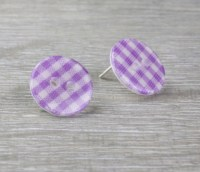 Purple check gingham button stud earring