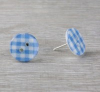 Red check gingham button stud earrings