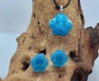 Blue Dog paw print necklace and stud earring set