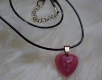 Pink heart shaped resin necklace