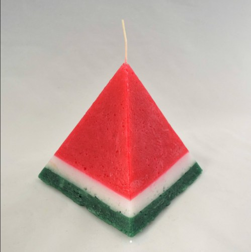 Watermelon pyramid pillar candle